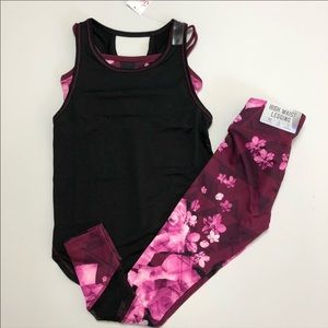 Justice 2fer tank and high waist leggings 6 7